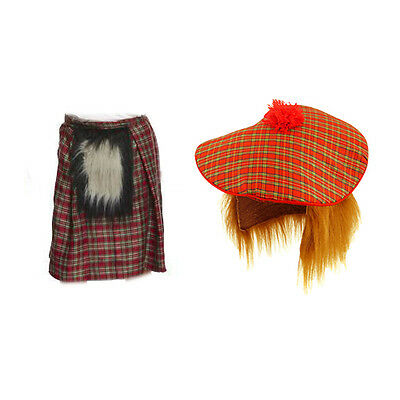 Mens Scottish Costume Scotsman Kilt+ Tartan Hat and Hair Burns Night Fancy Dress