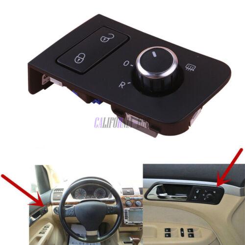 OE Chrome Mirror Control Heating Knob & Door Lock Switch For VW TOURAN CADDY LHD