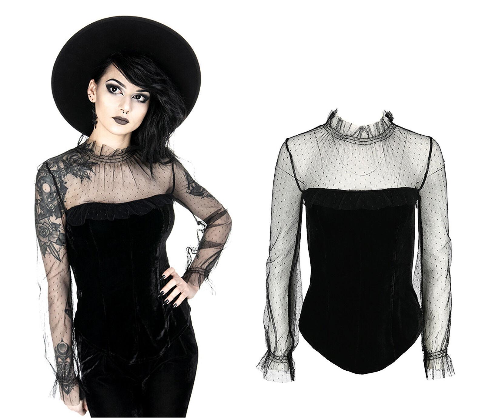 Restyle Gothic Blause Nugoth Retro Queen Samt Spitze Shirt Dark Witchy Vintage