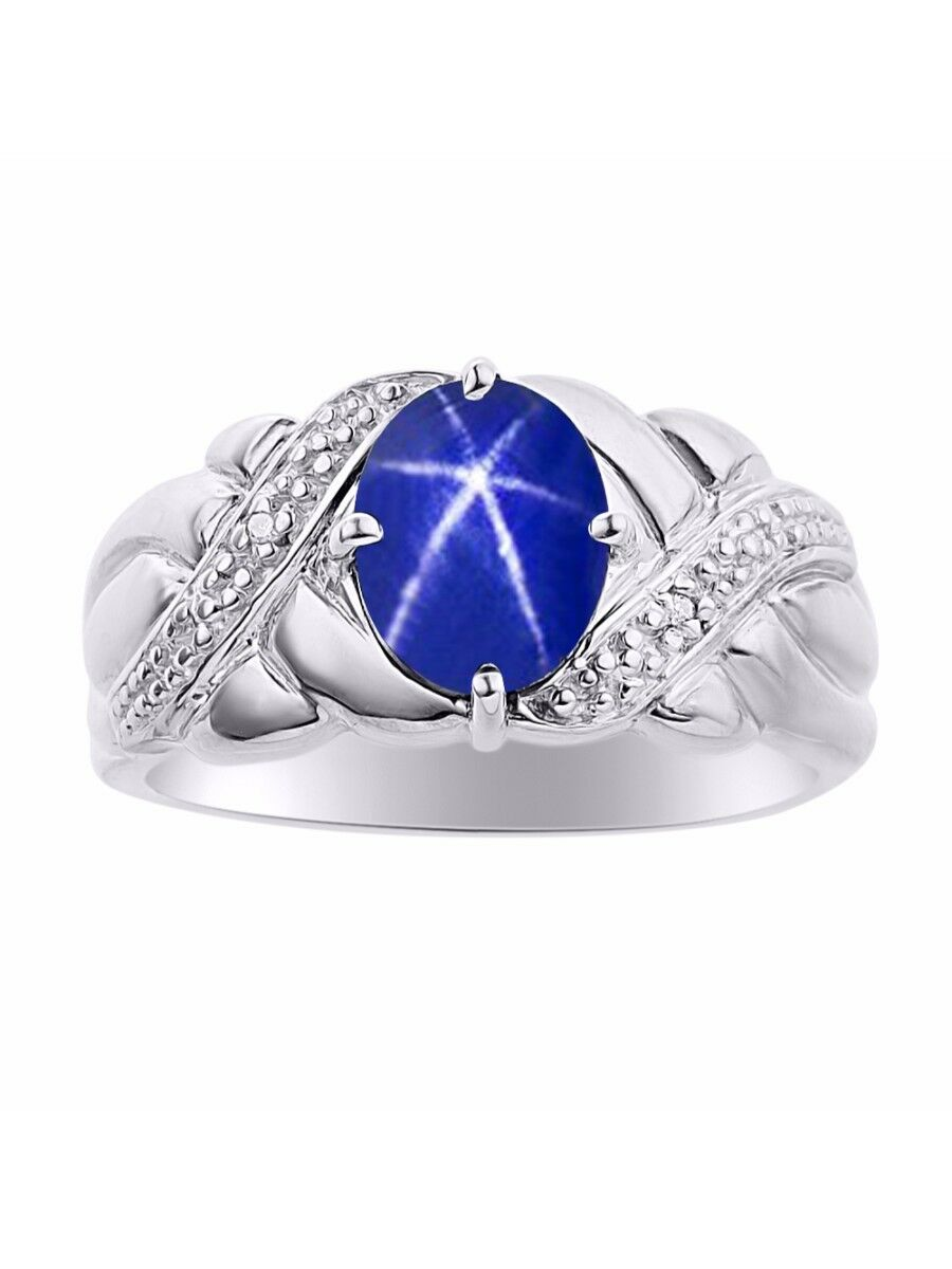 Diamond & bluee Star Sapphire Ring Set In 14K White gold - color Stone Birthstone