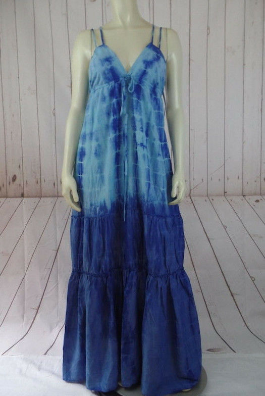 Seaton Maxi Dress XS, S New  Blau Tie Dye Cotton Silk Tierot Boho