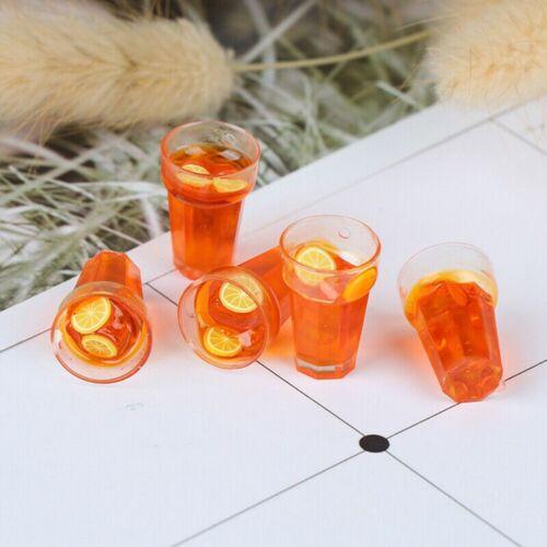 5Pcs 1:12 Dollhouse Miniature Food Lemon Tea Cups Doll House Drinks Model Toy UK