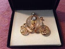 Brooch ELEGANT Gold tone CINDERELLA Carriage Coach Pin Swarovski Crystal DISNEY