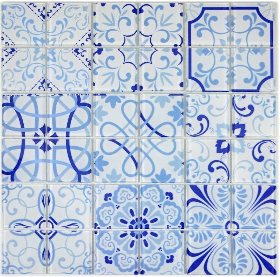 Retro Vintage Mosaik Fliese Transluzent Glas blau  68-Retro-M_f 10 Matten