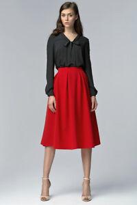 Details Sur Jupe Femme Cloche Rouge Taille Haute Mi Longue Evasee Nife Sp27 36 38 40 42 44