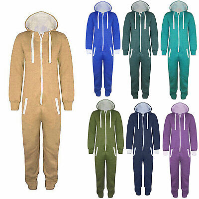 KIDS BOYS GIRLS PLAIN HOODED  ALL IN ONE JUMPSUIT PLAYSUIT SIZE 7-13 YEARS