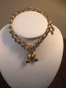 cd2d29b3da6cf Details about Vintage Monet Signed gold tone Charm Bracelet Faux Pearl Baby  Shoes Charm