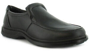 NEUF-POUR-HOMMES-HOMMES-Noir-a-enfiler-pied-large-chaussures-decontractees