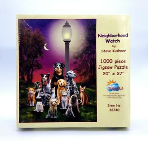NEW-Sunsout-Neighborhood-Watch-1000-PC-Jigsaw-Puzzle-36740-Dogs-Cats-Kushner