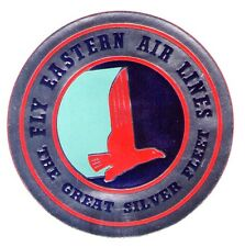 1950'S METALLIC FLY EASTERN AIRLINES ~ GREAT SILVER FLEET AIRLINE LUGGAGE LABEL