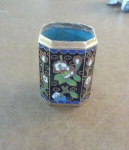 Vintage Japanese ? Small Cloisonné Octagon Shaped Container