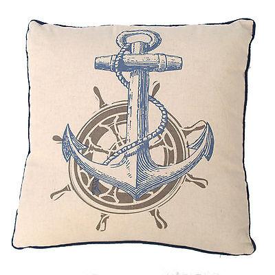 Kissen beige Sitzkissen 43 x 43 cm Maritim Anker mit Tau Steuerrad Dekorativ Neu