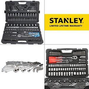 Stanley Mechanics Tool Box Set Kit 145 Piece Wrench Drive Sockets Car Auto Home