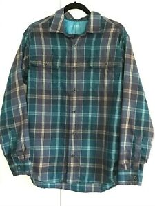 ORVIS-Mens-Tech-Flannel-Blue-Purple-Plaid-Long-Sleeve-Button-Down-Shirt-Size-M
