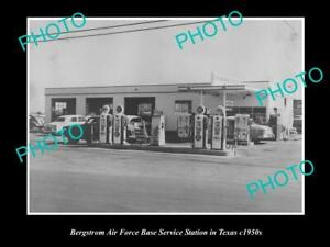 OLD-POSTCARD-SIZE-PHOTO-BERGSTROM-AIRFORCE-BASE-SERVICE-STATION-TEXAS-c1950s