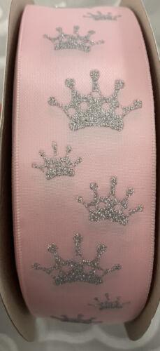Girly couronne rose motif ruban 2 mètre 40 mm