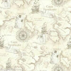 Navigateur-Carte-Vintage-Neutre-Papier-Peint-arthouse-Vip-622003-Mural-Neuf