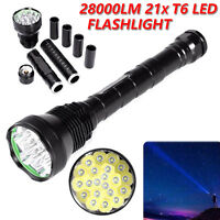 21x CREE T6 LED 28000lm 5 Modes Tactical Flashlight Torch Lamp Light 26650/18650