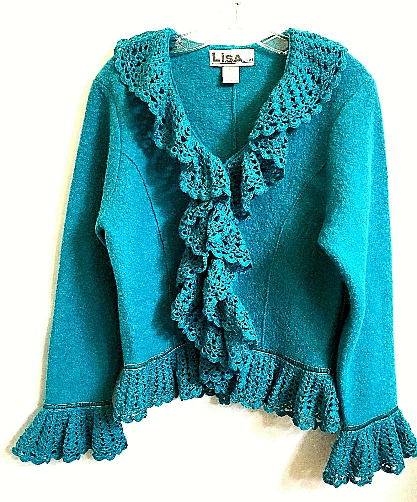 Lisa International Boiled Wool Cardigan  M Turquoise bluee Crochet Ruffle