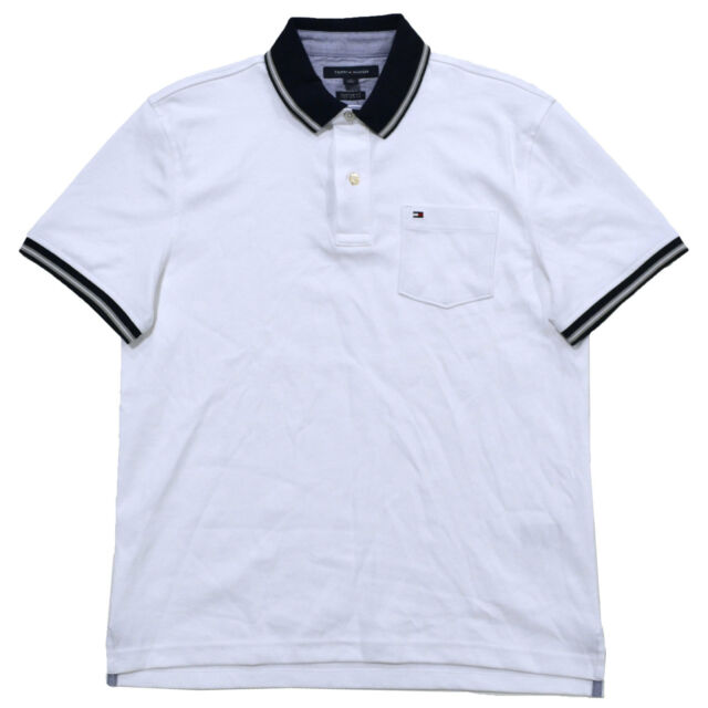 ee8377c519 Tommy Hilfiger Polo Shirt Mens Pocket Interlock Top Custom Fit Flag Logo  Regular M White Navy. About this product. Picture 1 of 2  Picture 2 of 2.  Picture 2 ...