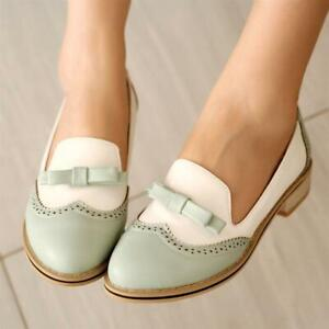 Womens-Retro-Brogue-Oxford-Bowtie-Sweet-Candy-Pump-Mary-Jane-Plus-Wing-tip-Shoes