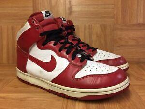 VNTG-Nike-Dunk-High-White-Varsity-Red-Black-Bulls-Sz-10-5-317982-162-RARE-LE