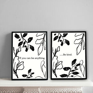 Home-Prints-A4-Abstract-Black-Floral-Be-kind-set-Gift-Wall-Art-NO-FRAME