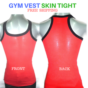 Womens-Singlet-Cotton-Sleeveless-Gym-Casual-Vest-Red-Hunk-Top-Skin-Tight-2-Pack