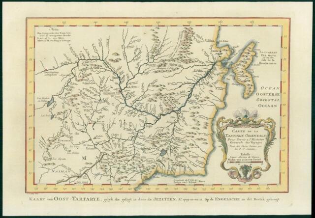 1749 Original Antique Map - CHINA Russia Manchuria Tartaria Sakhalin on