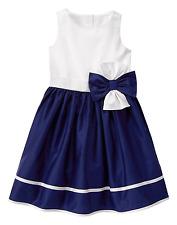 Gymboree EGG HUNT Girls 7 Navy White Bow Poplin Dressy Easter A-line Dress NWT
