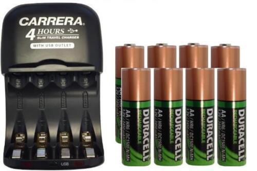 AA / AAA Smart Charger with USB Plug & 8 x AA Duracell NiMH 2450 mAh Batteries