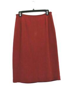 Kasper-A-S-L-Women-039-s-Size-10-High-Waist-Career-Midi-Pencil-Skirt-100-Silk-Red