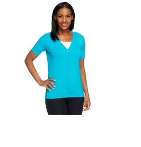 Nice Linea By Louis Dell'olio Whisper Knit Short Sleeve Cardigan-turquoise-xxs-new New Varieties Are Introduced One After Another