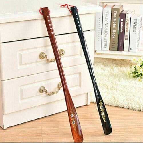 55cm Upper Flexible Long Handle Reach Easy On Shoehorn AID Wood Craft Shoe Horn