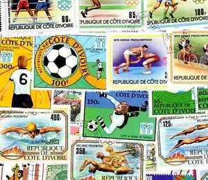 COTE D'IVOIRE collections de 25 à 800 timbres différents