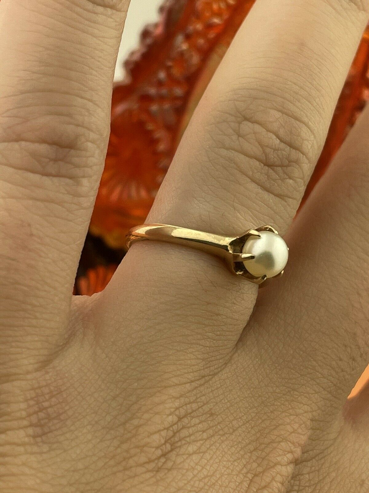 14k Solid Yellow Gold Solitaire Genuine Pearl ring - image 3