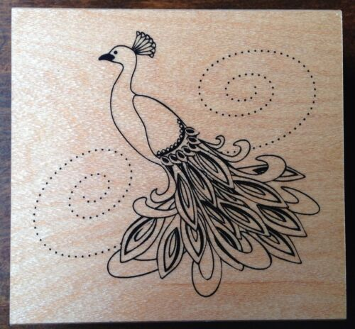 Peacock Rubber Stamp Great Impressions H174 Wood Mounted