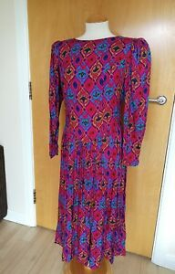 Ladies-TRUE-VTG-Dress-Size-12-14-Pink-Floral-80s-90s-Midi-Maxi