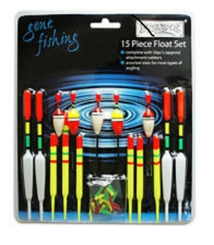 15 PIECE ASSORTED FISHING FLOAT SET /& RUBBERS RY186  COARSE FISHING