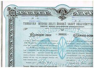 Temesvar-Modoser-Local-Eisenbahn-AG-Budapest-1915-Genuss-Schein-schoen