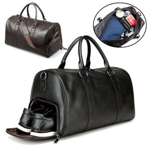 Men s Leather Gym Duffel Shoulder Bag Travel Overnight Luggage Large ... 5a285c060f