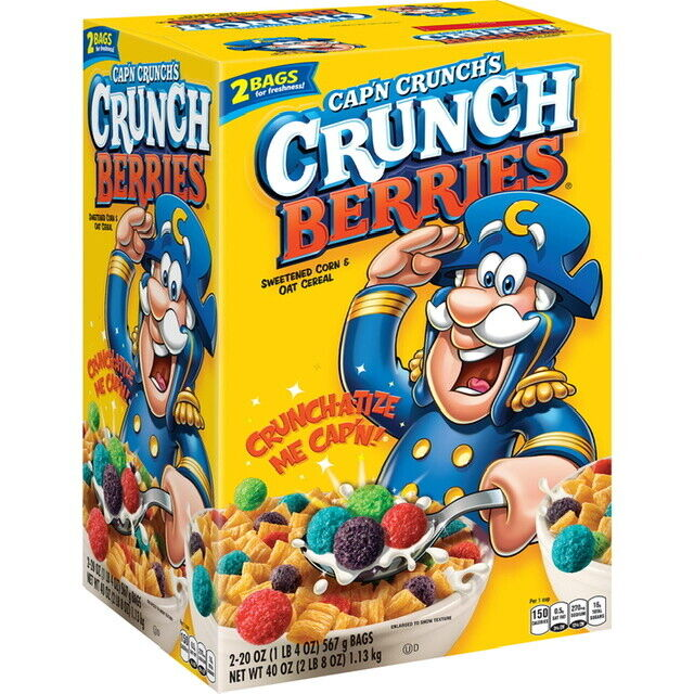 Cap N Crunch Oops All Berries Cereal 11 5 Oz Captain Crunch For Sale Online Ebay Crunch berries causes green poop. cap n crunch s crunch berries breakfast cereal 40 oz great deal service