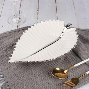 Zellerfeld Premium Design Leaf-Shaped Snack Dish Knabberschale Porcelain, White