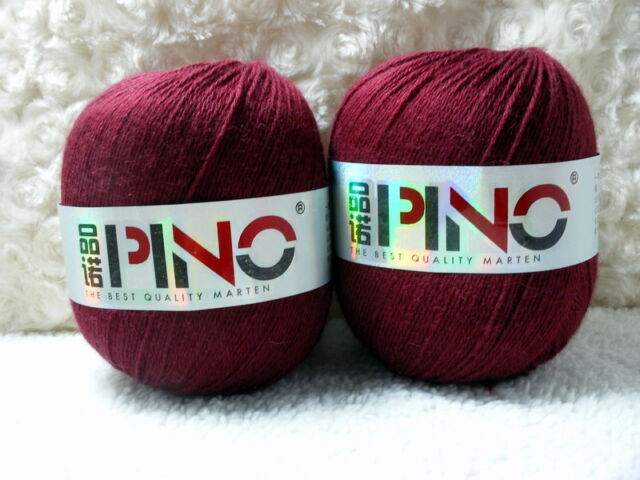 2*50g Skeins Soft Luxury 95% Mink Cashmere Knitting Yarn;Lace;100g;Dark Crimson