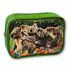 3D Lenticular Green Purse Make-Up Bag Koala Family with Flowers #SSP-494-ROMA#