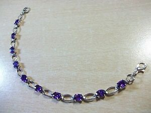 BEAUTIFUL-PURPLE-CUBIC-ZIRCONIA-SILVER-PLATED-CHAIN-NO-BRAND-BRACELET-7-3-4-034