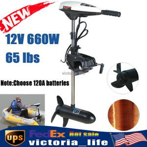 65LBS Heavy Duty Electric Trolling Motor Boat Kayak Outboard Motor 660W 12V