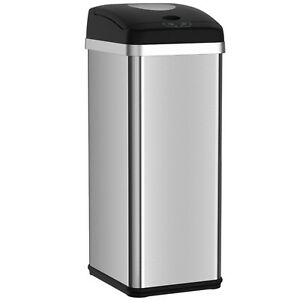 Details about Compactor Trash Can with Automatic Sensor Touchless Lid 13  Gallon Kitchen