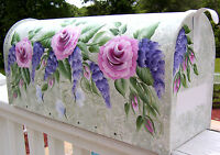 Hand Painted Decorative Mailbox Post Mount Shabby Chic Rose & Wisteria Swag
