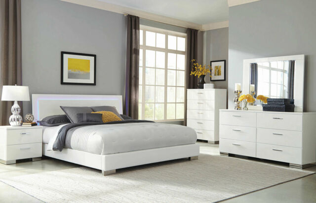 Modern Queen Low Profile Arc Bed Arched Base Contemporary 4 Pc Bedroom Set Vera For Sale Online Ebay